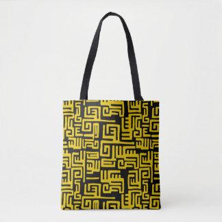 Tote Bag Motif tribal d'Africain noir jaune minimal