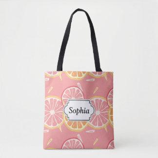 Tote Bag Motif tropical de pamplemousse rose et de citron