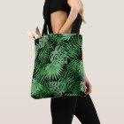 Tote Bag Motif vert tropical d'été de palmettes sur le noir