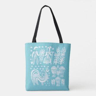 Tote Bag Motif vintage de Pyrex - bleu de turquoise de