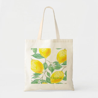 Tote Bag Motif watercolored élégant de citron sur le blanc