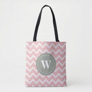 Tote Bag Motifs roses doux de chevron de monogramme