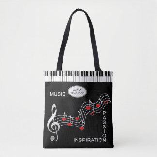 Tote Bag Musique Fourre-tout - clavier - notes - coeurs