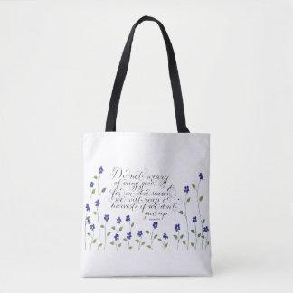 Tote Bag N'abandonnez pas le vers inspiré de typographie