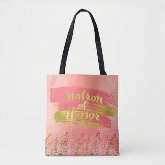 Tote Bag Noce rose rêveuse d'or de dame de honneur