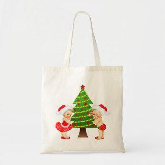 Tote Bag Noël Fourre-tout avec le bébé vintage et le garçon