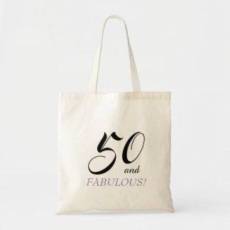 Tote Bag Noir et pourpre 50 et anniversaire fabuleux