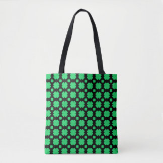 Tote Bag Noir modelé par trèfle vert