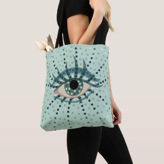 Tote Bag Oeil bleu pointillé beau par résumé