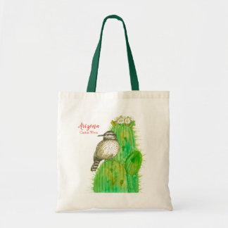 Tote Bag Oiseau d'état de roitelet de cactus de Saguaro de