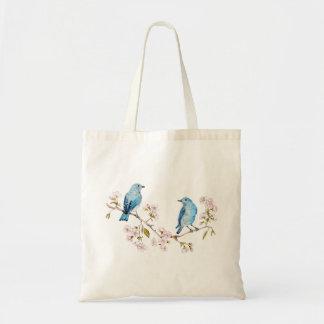 Tote Bag Oiseaux bleus de montagne sur la branche de Sakura