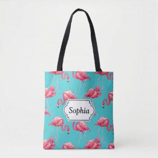Tote Bag Oiseaux roses de flamant sur l'arrière - plan de