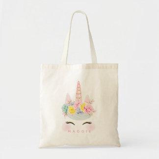 Tote Bag Or floral Girly de rose de licorne personnalisé