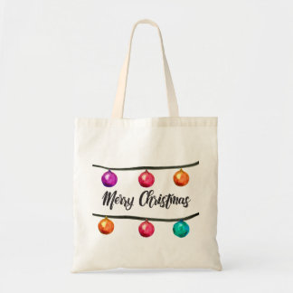 Tote Bag Ornements d'aquarelle de manuscrit de Joyeux Noël