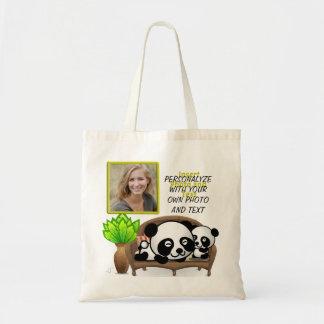 Tote Bag Panda, plante verte - insérez VOTRE photo et texte
