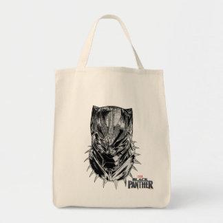 Tote Bag Panthère noire croquis principal noir et blanc de