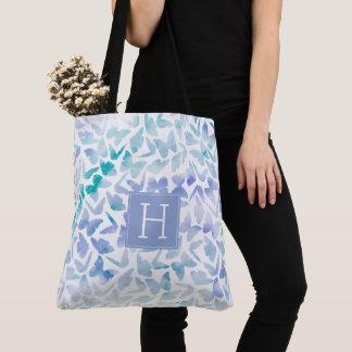 Tote Bag Papillons d'aquarelle d'Aqua et de lilas