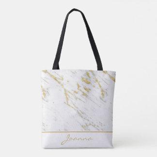 Tote Bag Parties scintillantes de marbre blanches décorées
