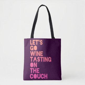 Tote Bag Partons échantillon de vin sur le divan