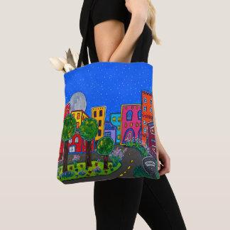Tote Bag Paysage urbain moderne coloré de nuit d'art