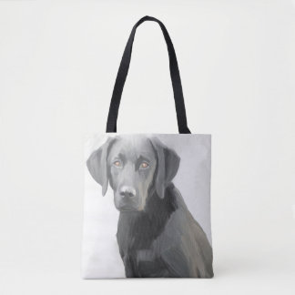 Tote Bag Peinture à l'huile noire de chien de labrador