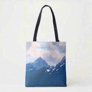 Tote Bag Peinture bleue de montagne de Digitals