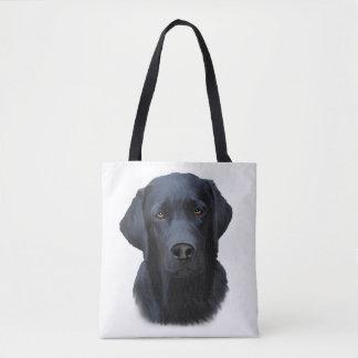 Tote Bag Peinture noire d'art de couleur d'eau de chien de