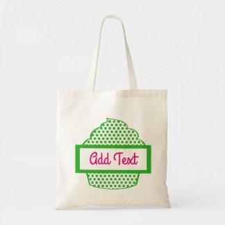Tote Bag Petit gâteau fourre-tout de point de polka en vert
