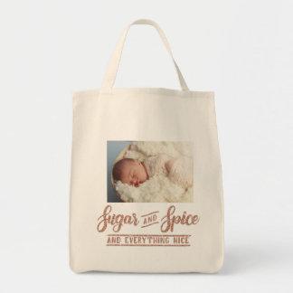 Tote Bag Photo rose Totle de calligraphie d'or de sucre et
