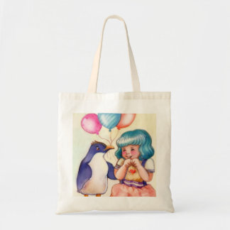 Tote Bag Pingouin et fille de joyeux anniversaire