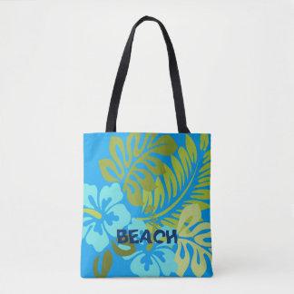 Tote Bag Plage hawaïenne florale tropicale colorée de