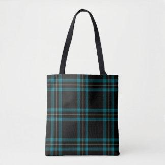 Tote Bag Plaid de tartan bleu de double Aqua noir de