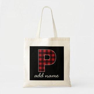 Tote Bag Plaid noir et rouge de la lettre P de monogramme -