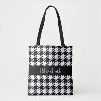Tote Bag Plaid personnalisé de noir de pied-de-poule