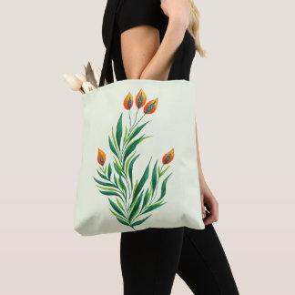 Tote Bag Plante verte de ressort avec les bourgeons oranges