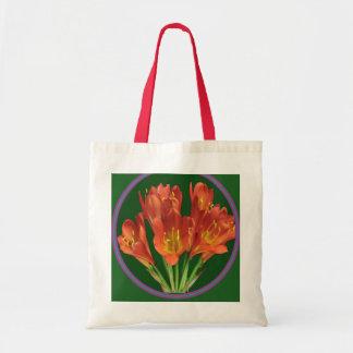Tote Bag Poignées rouges de rouge de fleur de Fourre-tout