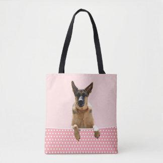 Tote Bag Pois de rose de chien de berger allemand