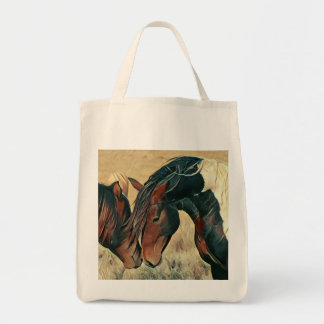 Tote Bag Poneys sauvages de peinture