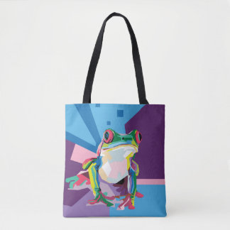 Tote Bag Portrait coloré de grenouille d'arbre