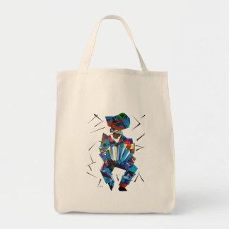 Tote Bag Portrait cubiste de joueur d'Accordian d'isolement