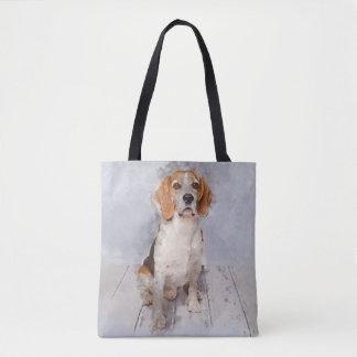 Tote Bag Portrait mignon d'aquarelle de beagle