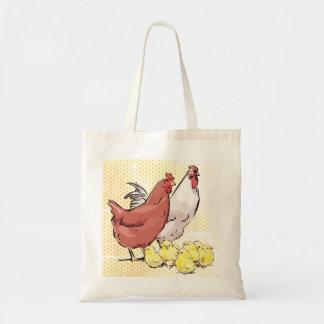 Tote Bag Poule et coq avec des poulets