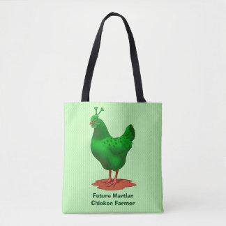 Tote Bag Poulet étranger martien vert drôle