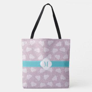 Tote Bag Pourpre de monogramme et motif pâles de fougère
