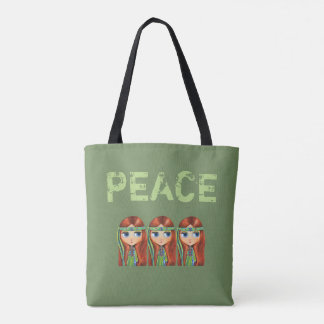 Tote Bag Poussin hippie de fille de paix en années 1960