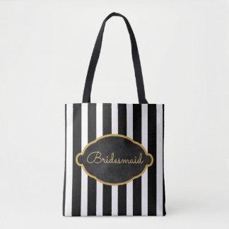 Tote Bag Rayure blanche noire moderne d'or de mariage de