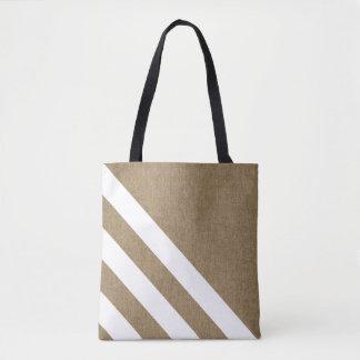 Tote Bag Rayures élégantes de blanc de toile de jute de