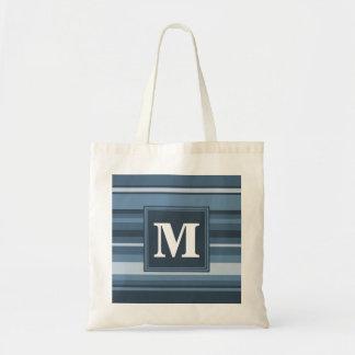 Tote Bag Rayures gris-bleues de monogramme
