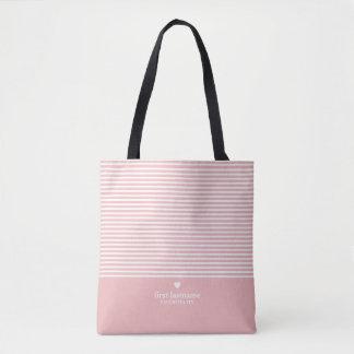 Tote Bag Rayures modernes avec le monogramme classieux de