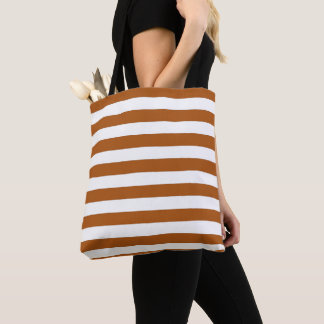 Tote Bag Rayures oranges et blanches